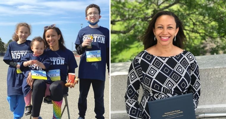 (Left) Jen Kanyuigi and her three children in their Beacon 5K t-shirts (Right) Jen with her diploma