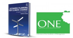 Scenario planning book cover and ONE logo.