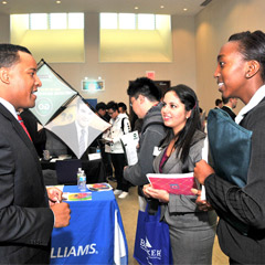 Career Expo picture with three individuals.