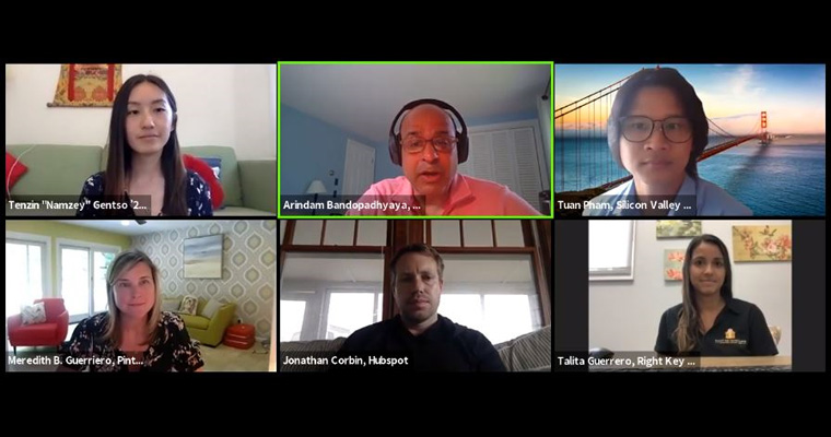 Four alumni and one student from the College of Management chat with Dean Bandopadhyaya during a webinar panel