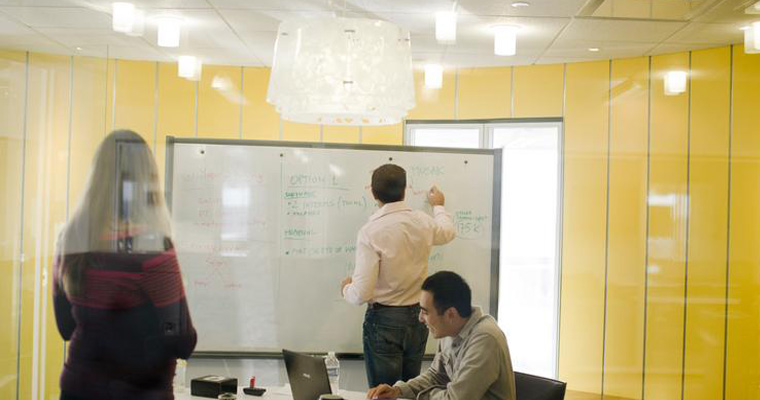 People use the Venture Development Center space to brainstorm.