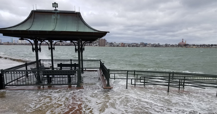 The HarborWalk flooded in March 2018