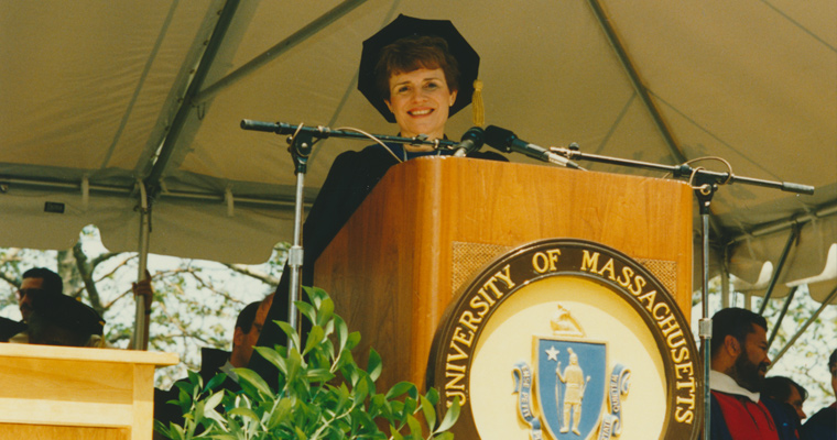 Former Chancellor Sherry Penney presides over commencement exercises